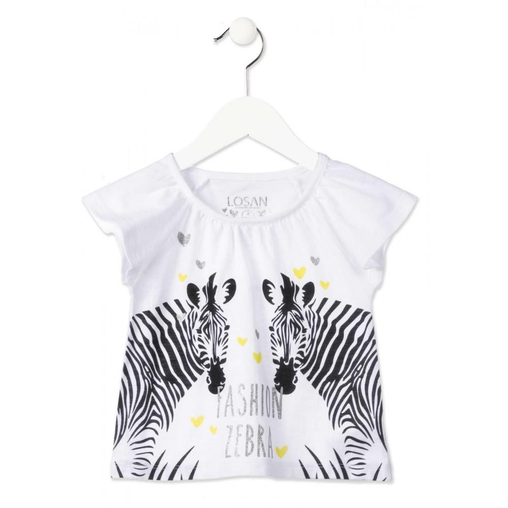 Camiseta Losan Kids niña infantil Fashion zebra manga corta