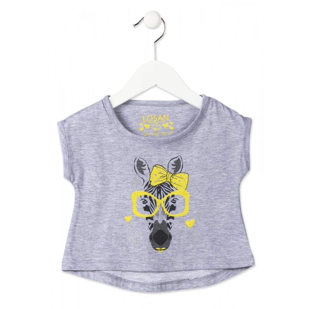 Camiseta Losan Kids niña infantil Fashion zebra glasses manga corta