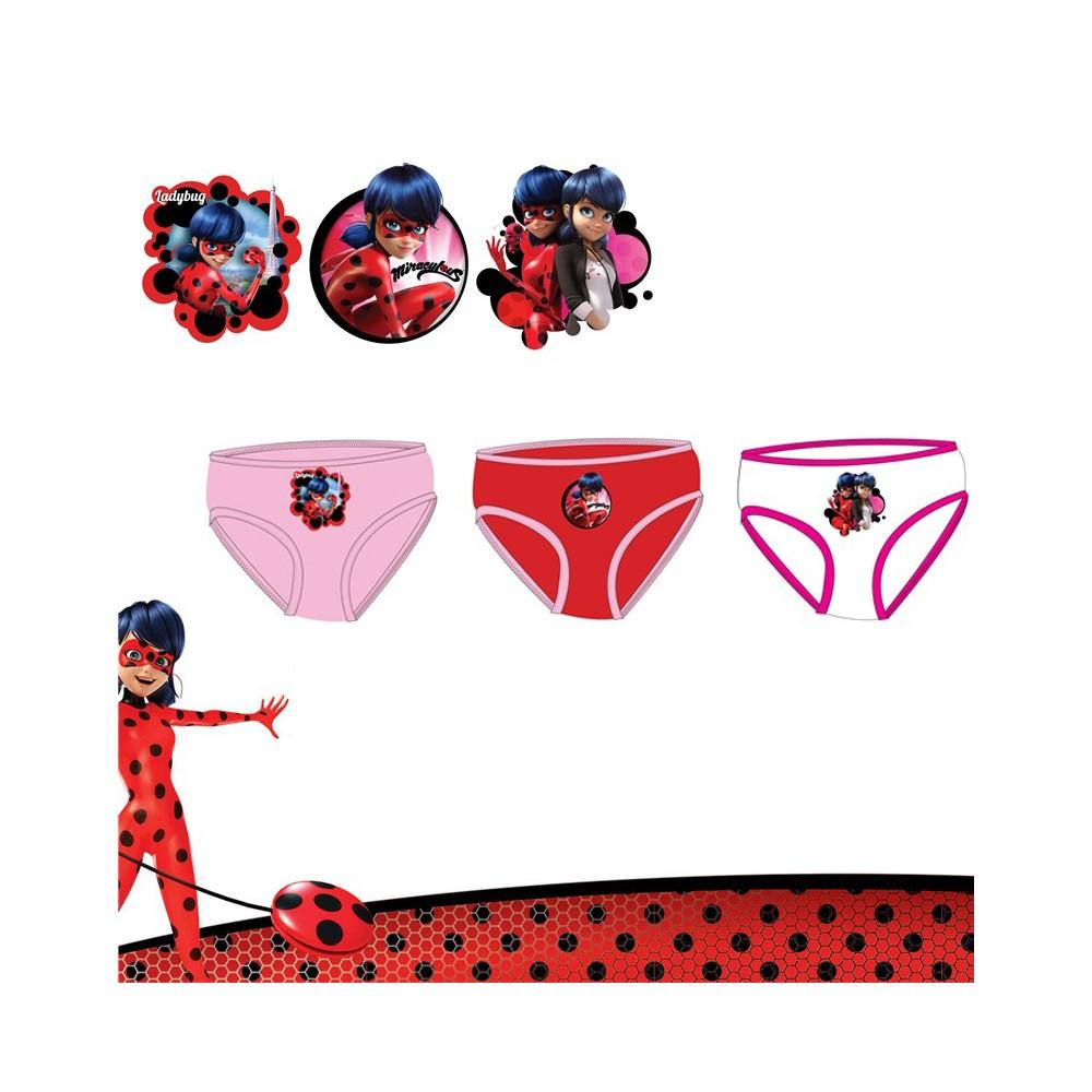 Pack de 3 Braguitas Ladybug niña infantil
