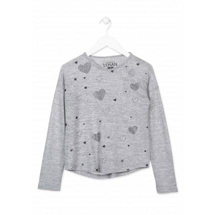 Camiseta Losan niña junior Corazones manga larga