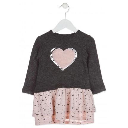 Vestido Losan kids niña infantil corazón tricot