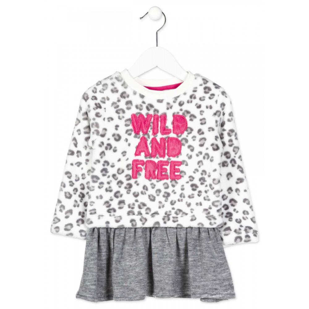 Vestido Losan Kids niña infantil Wild and free coralina