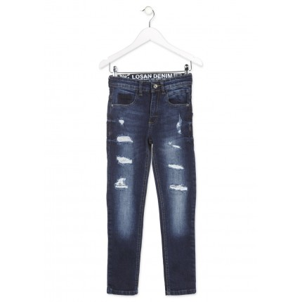 Pantalón Denim Losan niño junior Deep blue rotos slim