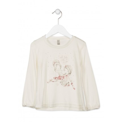 Camiseta Losan Kids Chic Collection niña infantil I will tade Care of you manga larga