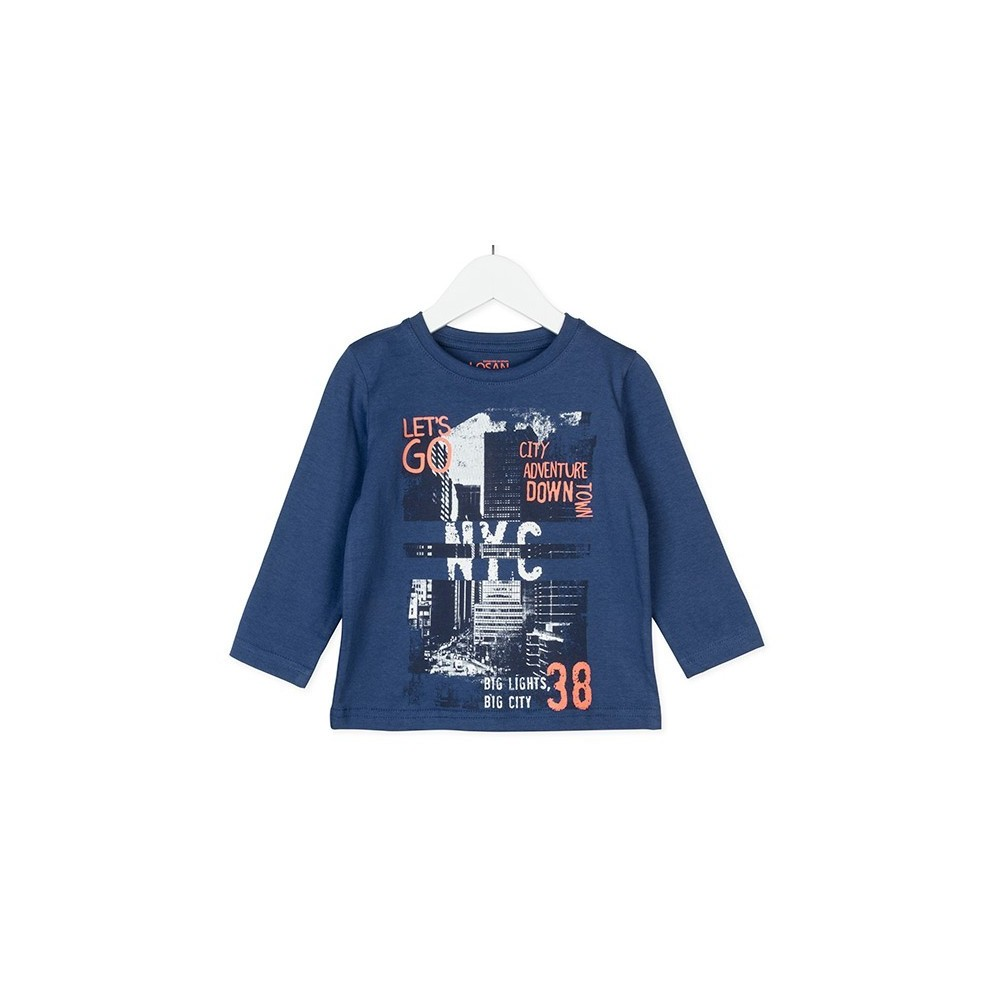 Camiseta infantil Losan niño Let's go City Block manga larga
