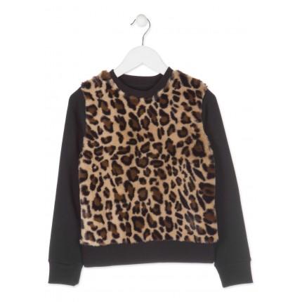 Sudadera Losan niña junior estampado Leopardo puños