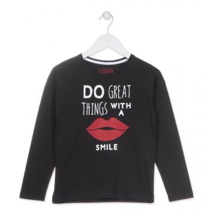 Camiseta Losan niña Smile junior manga larga