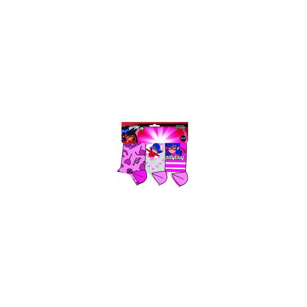Calcetines niña Lady Bug Miraculous pack de 3 rosa