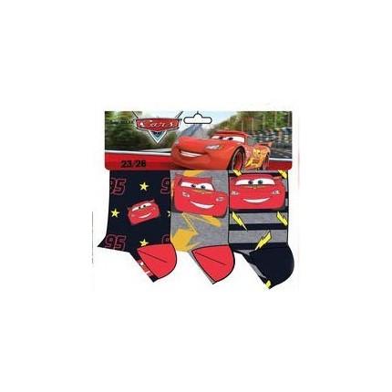 Calcetines Cars niño Disney Rayo McQueen pack de 3 Azul y gris
