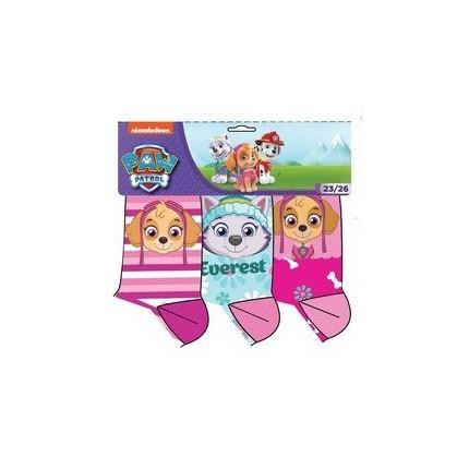 Calcetines Patrulla Canina niña Paw Patrol pack de 3 rosa y fucsia