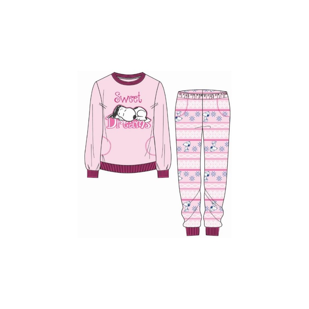 Pijama Snoopy niña Sweet Dreams manga larga Coralina