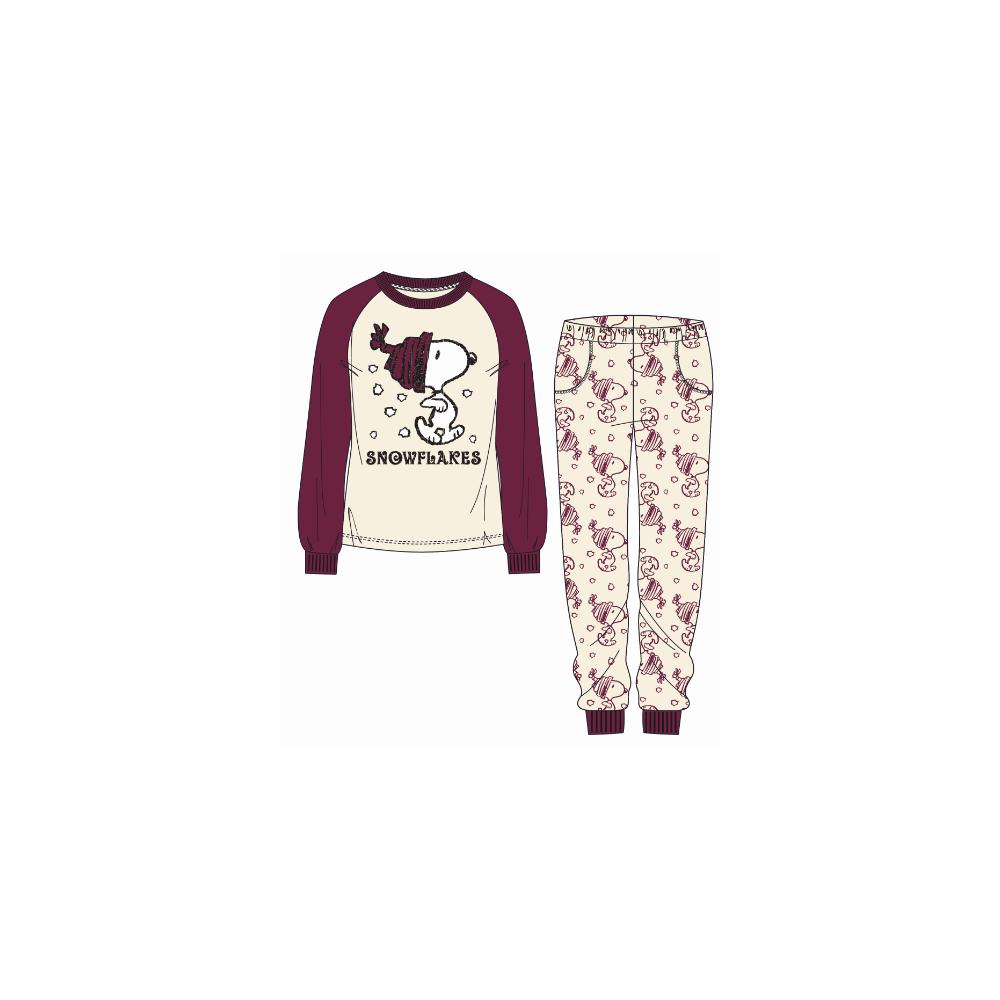 Pijama Snoopy niña Snowflakes manga larga Coralina