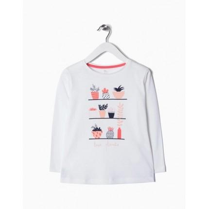 Camiseta Zippy niña Flores y estantes manga larga