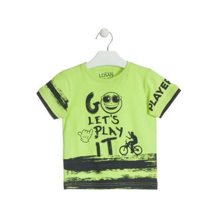 Camiseta Losan Kids niño infantil Go Let's Play it manga corta 100% Algodón