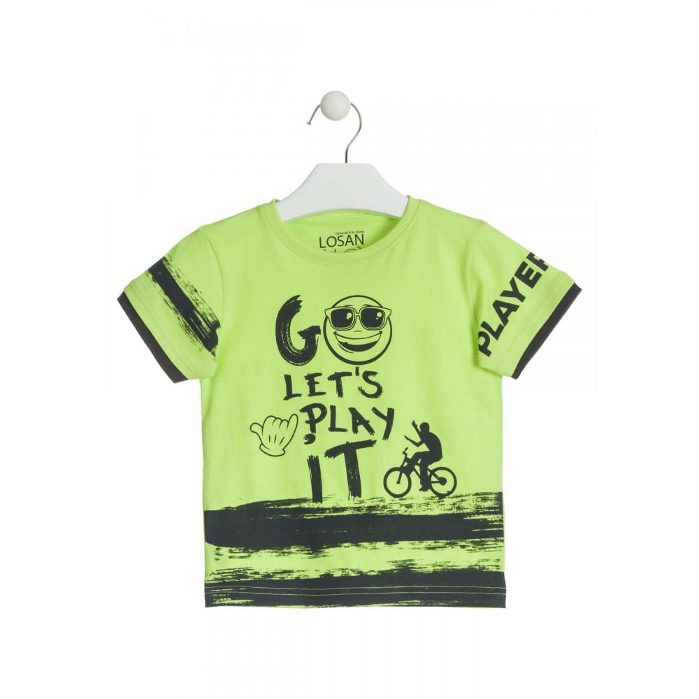 Camiseta Losan Kids niño infantil Go Let's Play it manga corta 100% Algodón