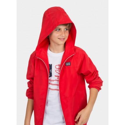 Modelo detalle capucha Parka Tiffosi Kids Camber niño junior Rojo capucha