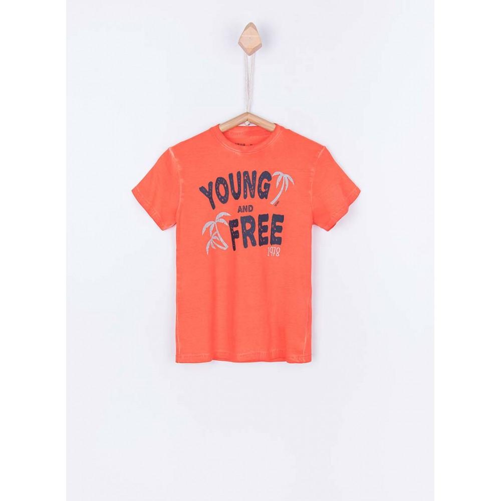 Camiseta Tiffosi Kids Roddy niño junior manga corta naranja