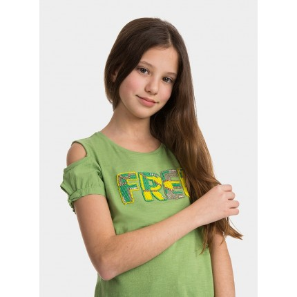 Modelo Camiseta Tiffosi Kids Hollo niña junior manga corta hombros descubiertos