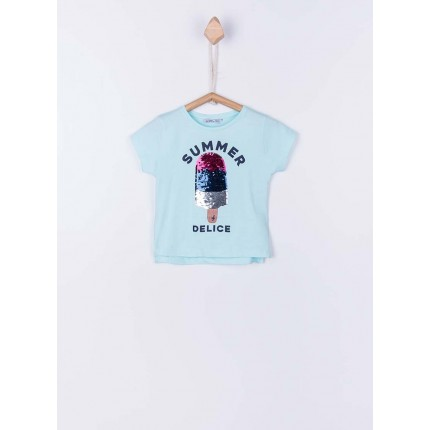Camiseta Tiffosi Kids Fruity niña junior manga corta 100% Algodón lentejuelas