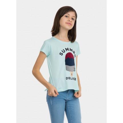 Modelo frontal Camiseta Tiffosi Kids Fruity niña junior manga corta 100% Algodón lentejuelas