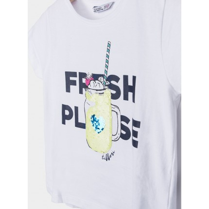 Detalle estampado Camiseta Tiffosi Kids Fruity niña junior manga corta 100% Algodón