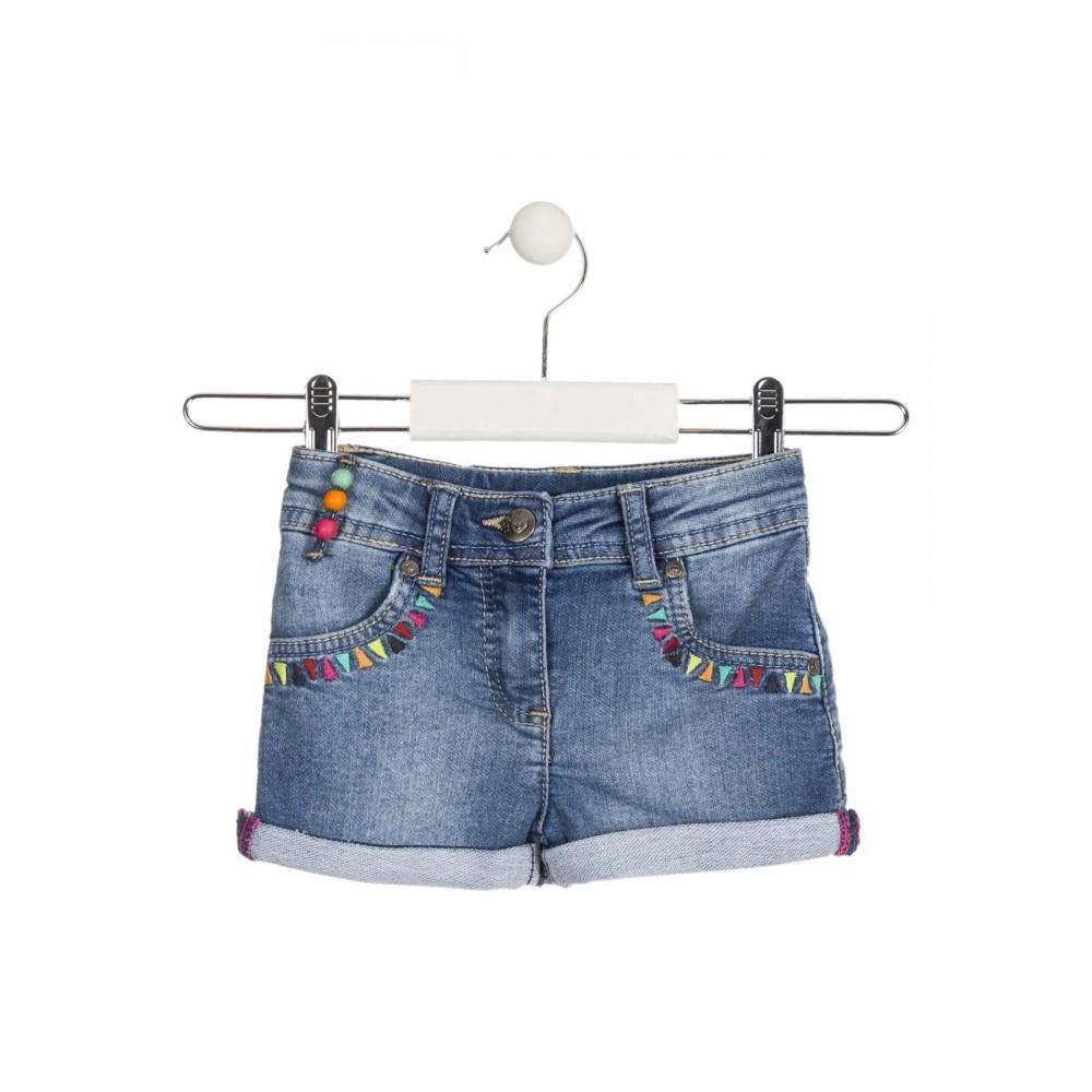Short Denim Losan Kids Etnica niña infantil con reductor en la cintura