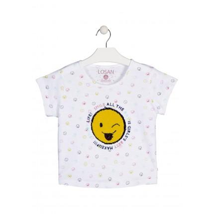 Camiseta Losan Smile niña junior manga corta lentejuelas