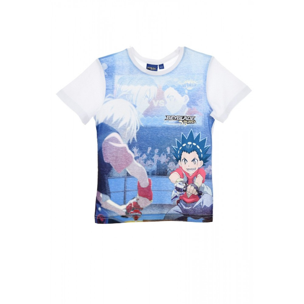 Camiseta BayBlade Burst niño infantil manga corta Blanco