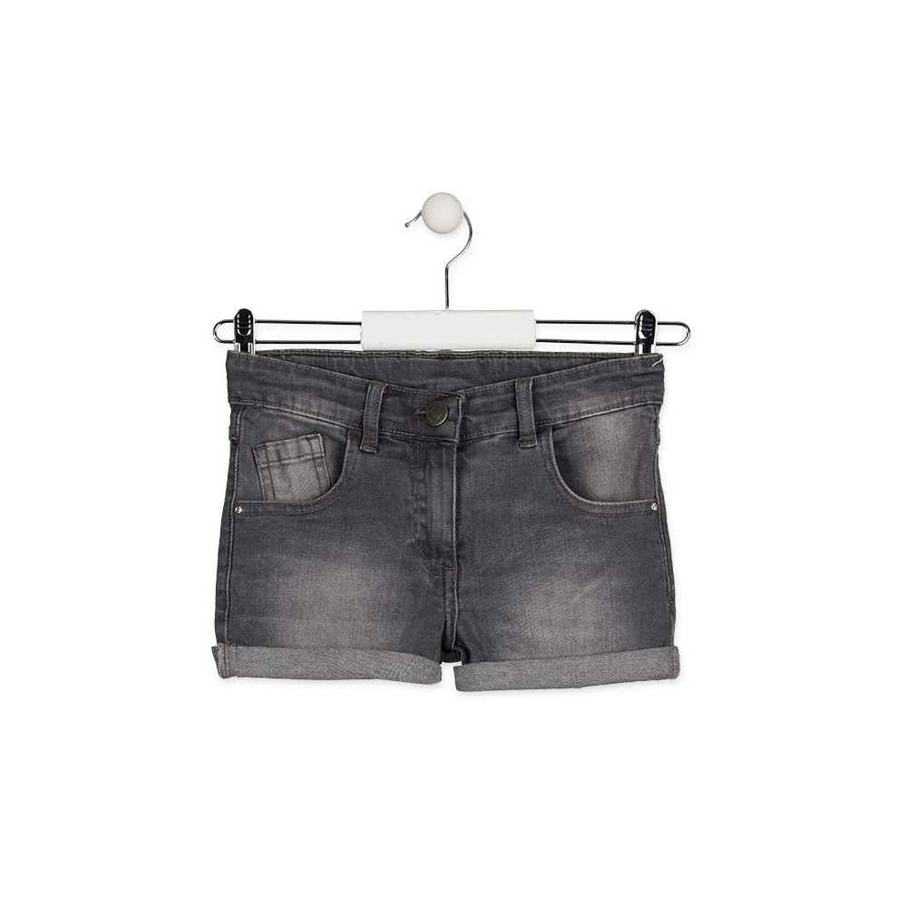 Short Denim Losan niña junior básico cinco bolsillos Gris oscuro