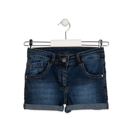 Short Denim Losan niña junior básico cinco bolsillos Azul marino