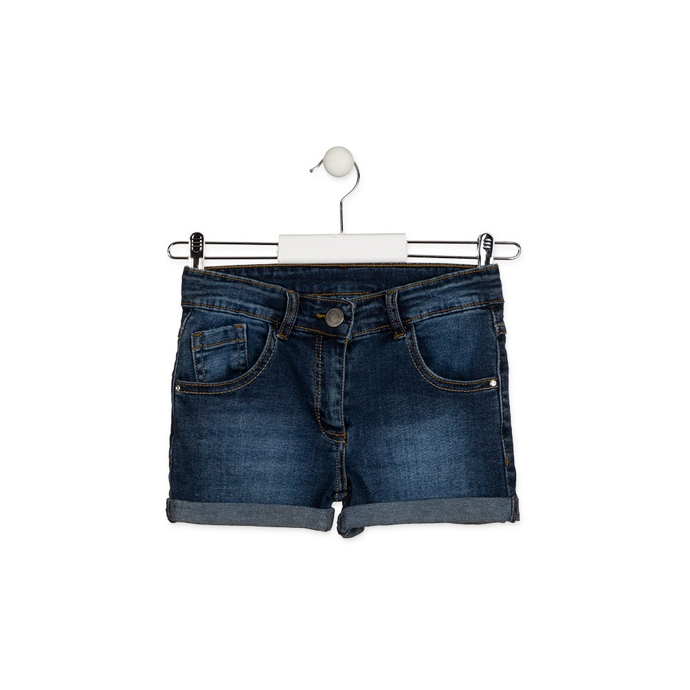 Short Denim Losan niña junior básico cinco bolsillos Azul marino