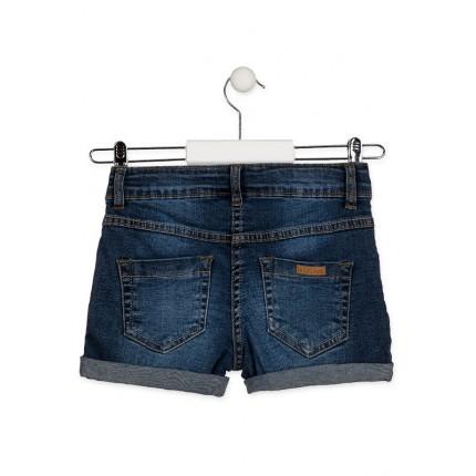 Parte trasera Short Denim Losan niña junior básico cinco bolsillos Azul marino