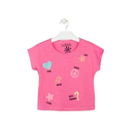 Camiseta Losan niña junior Corazones manga corta
