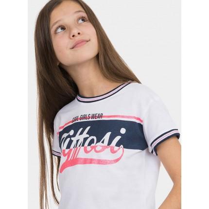 Modelo Frontal Camiseta Tiffosi Kids Shine niña junior top corto