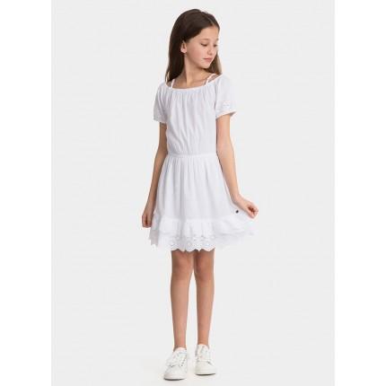 Modelo parte delantera Vestido Tiffosi Kids Ekaterina niña junior Ibicenco con los hombros descubiertos