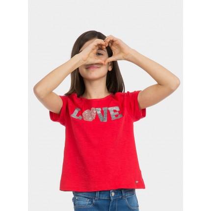 Modelo Camiseta Tiffosi Kids Paulina niña junior hombros descubiertos