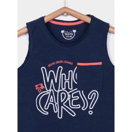 Detalle estampado Camiseta Tiffosi Kids Mamun niño junior tirantes Azul medieval