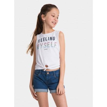 Modelo parte delantera Top Tiffosi Kids Laos niña junior tirantes