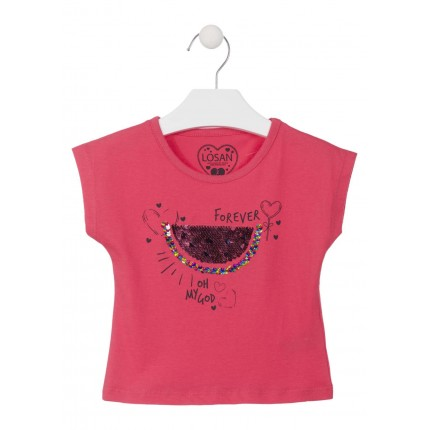 Camiseta Losan Kids niña Oh My God infantil manga corta lentejuelas