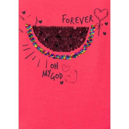 Detalle estampado Camiseta Losan Kids niña Oh My God infantil manga corta lentejuelas