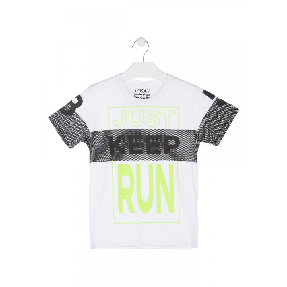 Camiseta Losan niño Just Keep Run junior manga corta