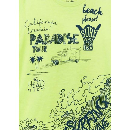 Detalle estampado Camiseta Losan niño Paradise junior manga corta