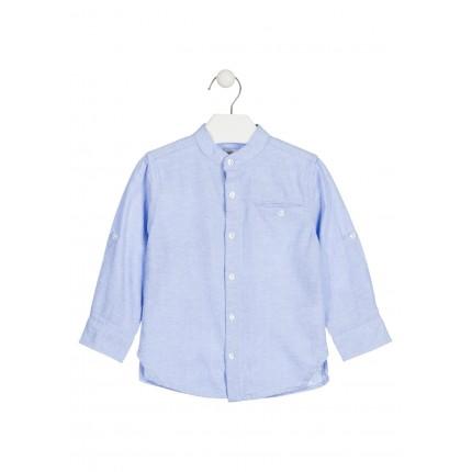 Camisa Losan Kids niño infantil manga larga cuello panadero azul