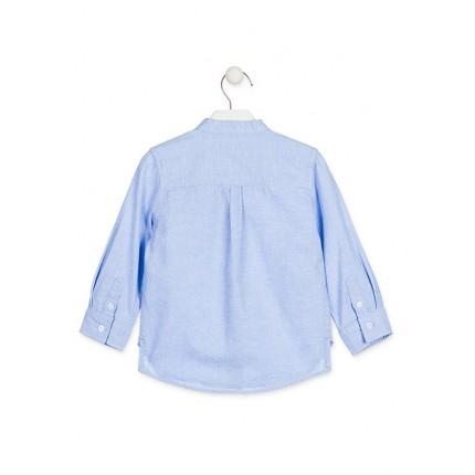 Espalda Camisa Losan Kids niño infantil manga larga cuello panadero azul