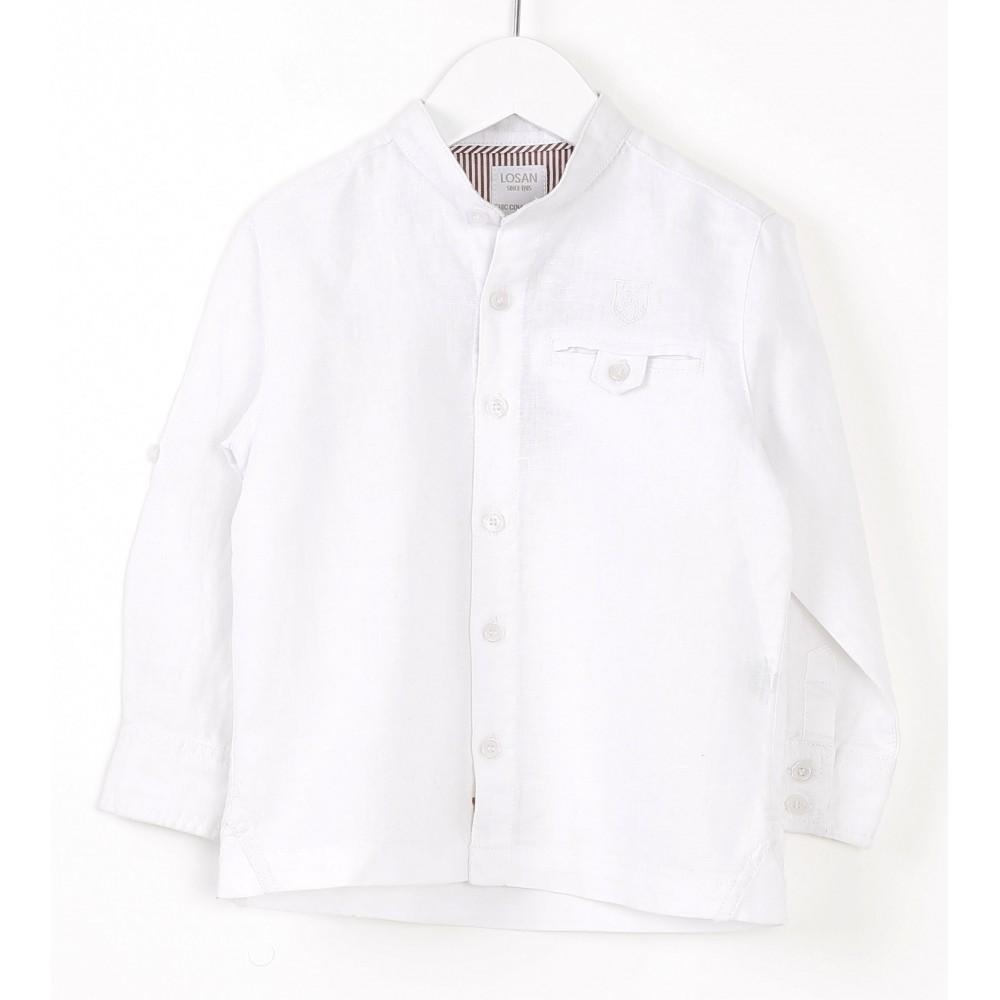 Camisa Losan Kids niño infantil manga larga cuello panadero blanco