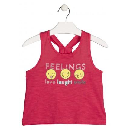 Camiseta Losan niña Smile Emogis junior tirantes corta para enseñar el ombligo
