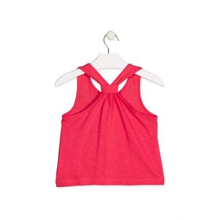Espalda Camiseta Losan niña Smile Emogis junior tirantes corta para enseñar el ombligo