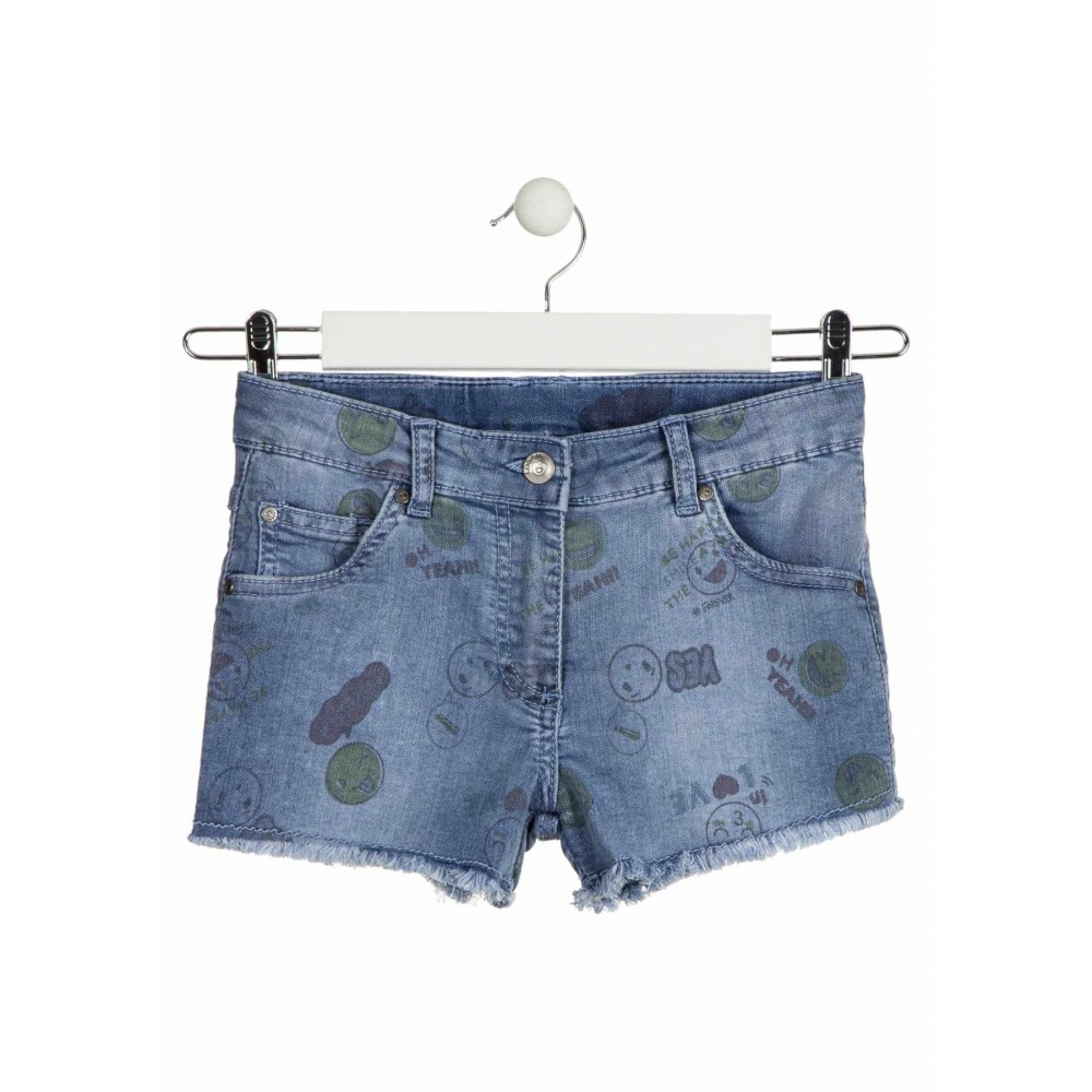Short Denim Losan niña Oh Yeah! Smile junior flecos