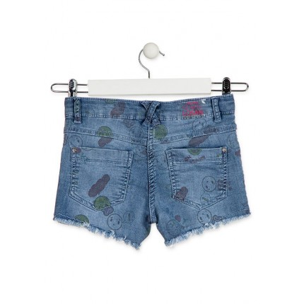 Parte trasera Short Denim Losan niña Oh Yeah! Smile junior flecos
