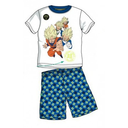 Blanco Pijama Dragon Ball Super Saiyan niño manga corta